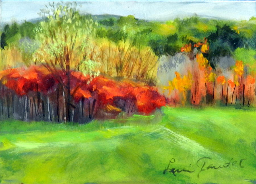 Landscape Painting - Autumn Reds by Lenore Gaudet
