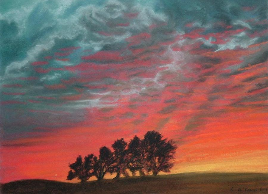 Autumn Reds Original Signed Soft Pastel Painting Painting