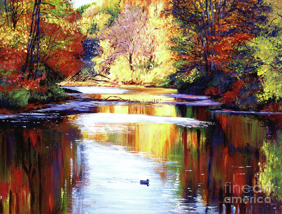 Water Painting - Autumn Reflections by David Lloyd Glover