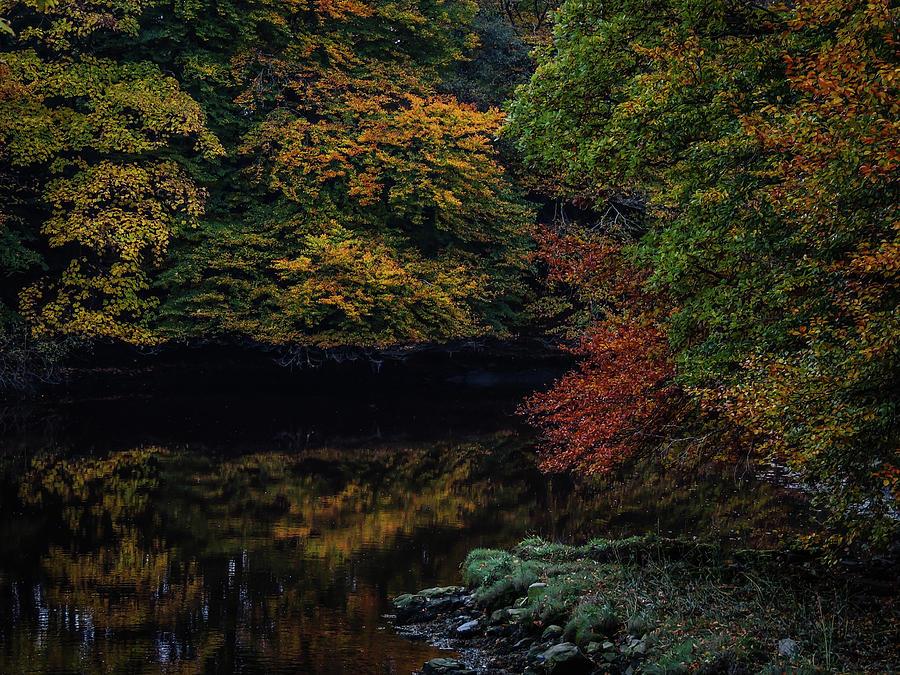 Autumn Photograph - Autumn Reflections In Irish River by James Truett