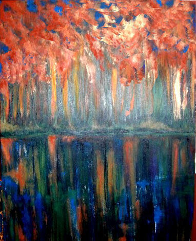 Abstract Painting - Autumn Reflections by Rae Chichilnitsky