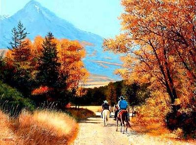Autumn Riders In Paradise Painting by Al Feldstein
