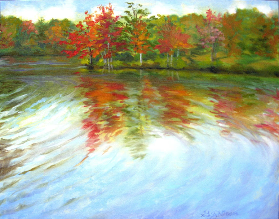 Autumn River Painting by Gloria Nilsson