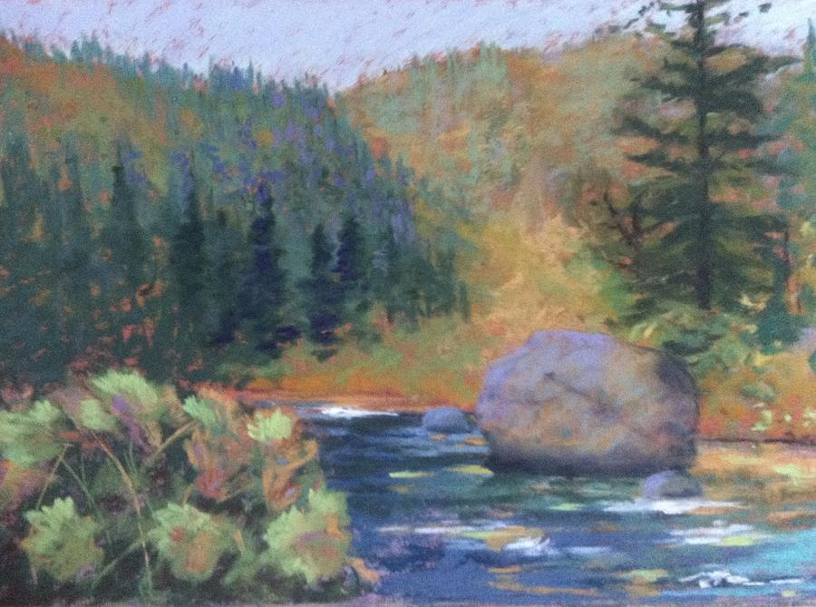 River Painting - Autumn River by Janet Biondi