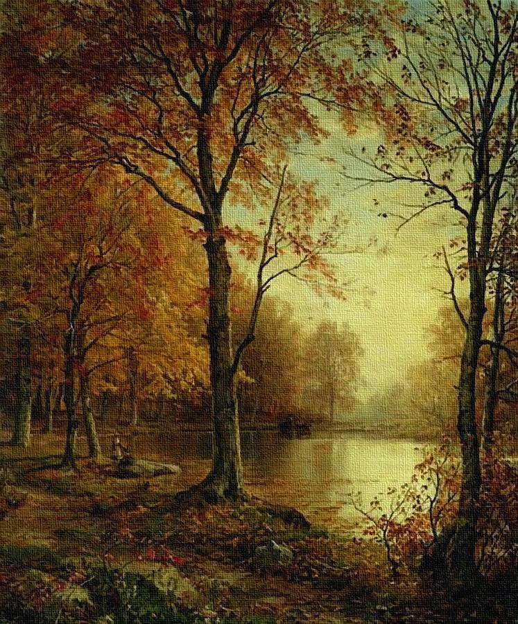 Autumn Riverside Scene L B Painting