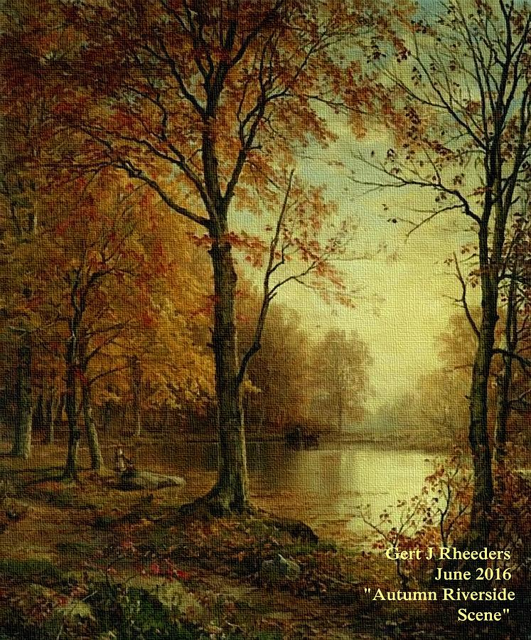 Autumn Riverside Scene  P A Painting