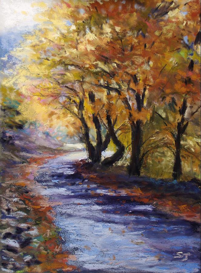 Landscape Pastel - Autumn Road Home by Susan Jenkins