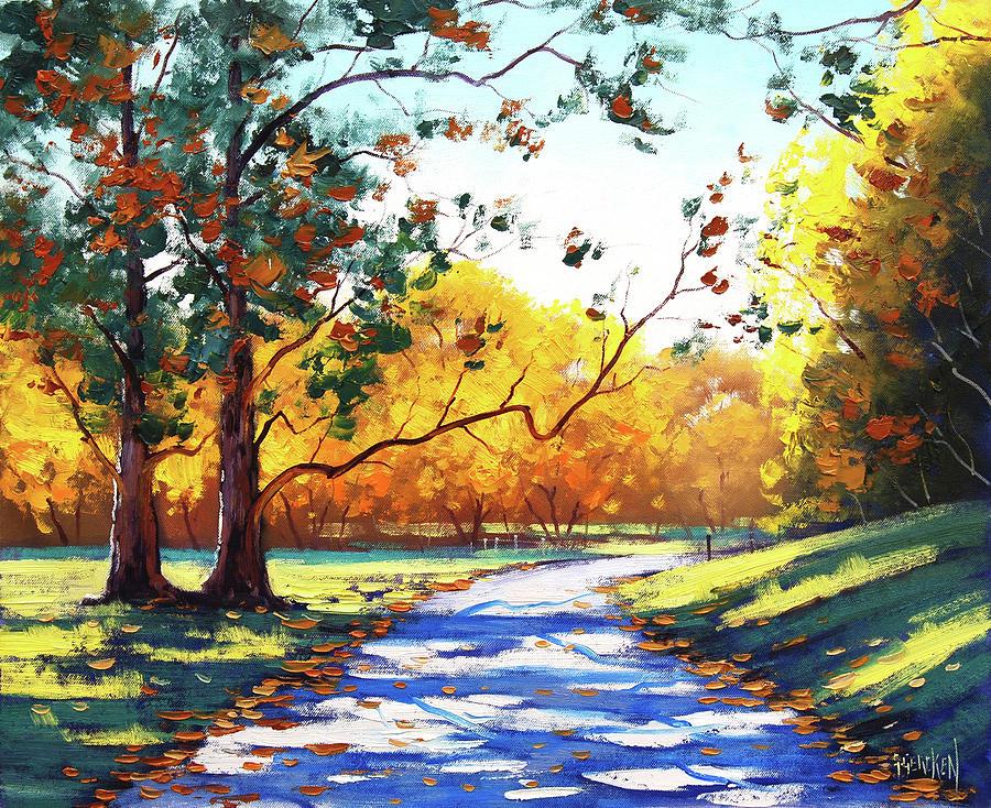 Nature Painting - Autumn road Mt Wilson by Graham Gercken