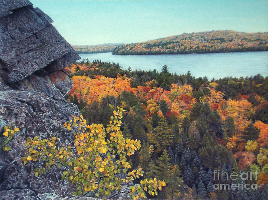 Ontario Drawing - Autumn Rocks Booths Rock Lookout by Susan Fraser SCA  B Sc