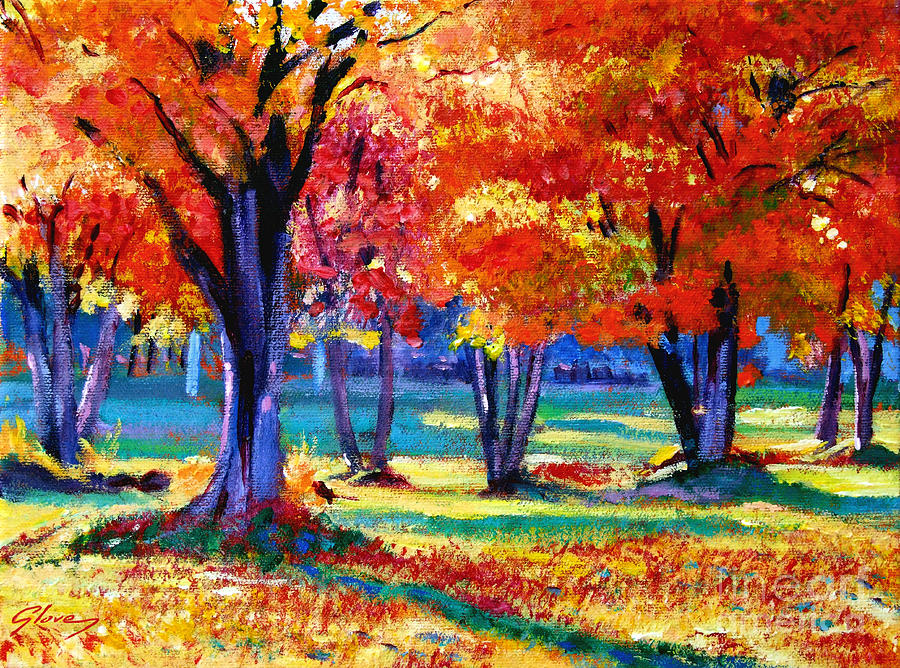 Plein Aire Painting - Autumn Row by David Lloyd Glover
