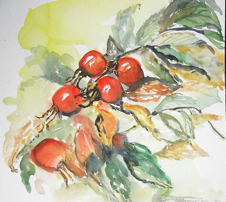 Rosehips Painting - Autumn by Sarah Hoddy