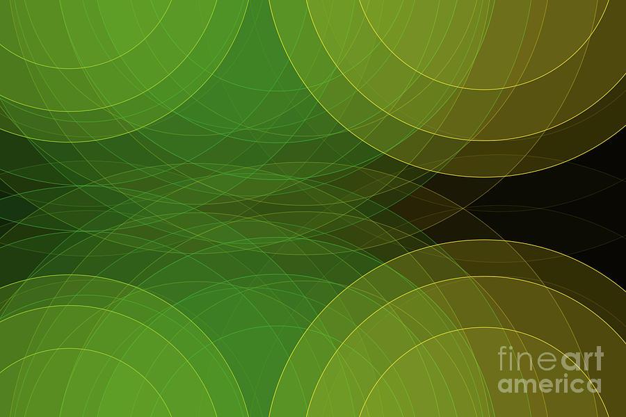 Abstract Digital Art - Autumn Semi Circle Background Horizontal by Frank Ramspott