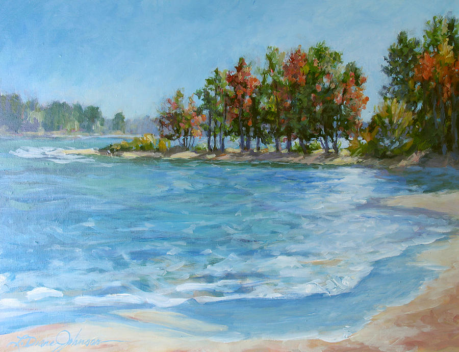 Fall Colors Painting - Autumn Shores - Jordan Lake by L Diane Johnson