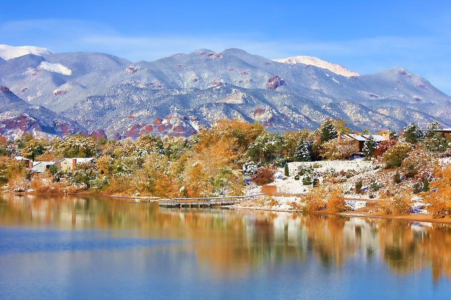 Landscape Photograph - Autumn Snow At The Lake by Diane Alexander
