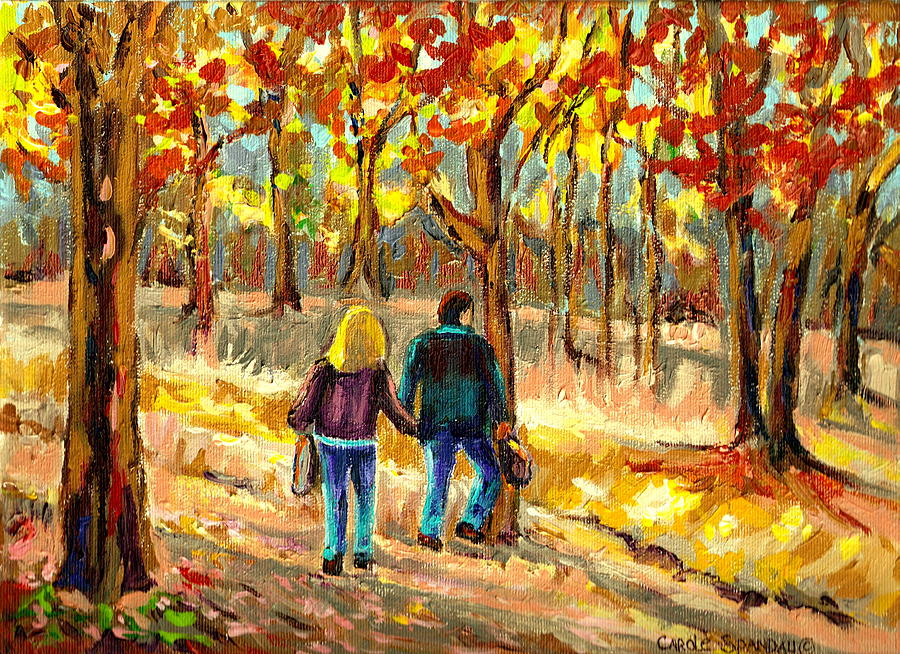 Beaver Lake Painting - Autumn  Stroll On Mount Royal by Carole Spandau