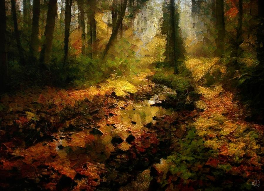 Landscape Digital Art - Autumn Sunrays by Gun Legler