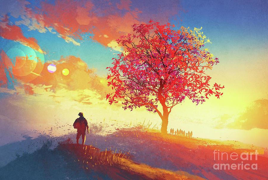 Autumn Sunrise Painting by Tithi Luadthong