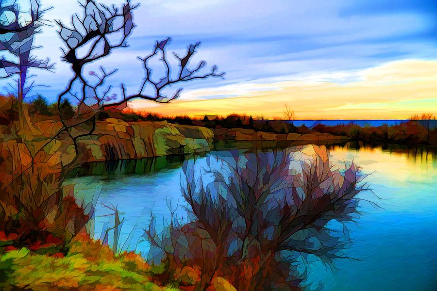Digital Painting Digital Art - Autumn Sunset by Lilia D