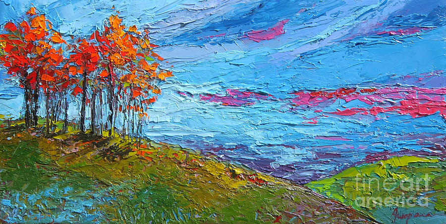 Autumn Sunset - Modern Impressionist palette knife oil painting by Patricia Awapara