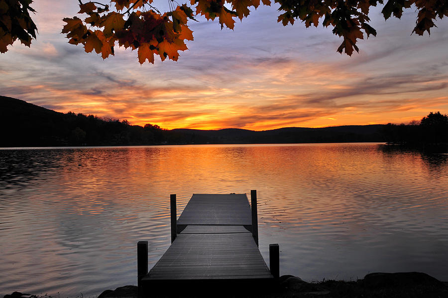 Lakes Photograph - Autumn Sunset by Thomas Schoeller