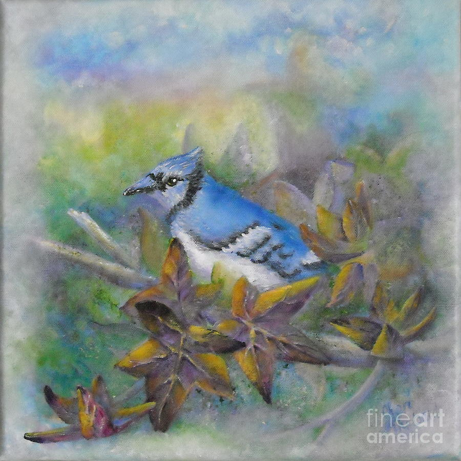 Autumn Painting - Autumn Sweet Gum With Blue Jay by Sheri Hubbard