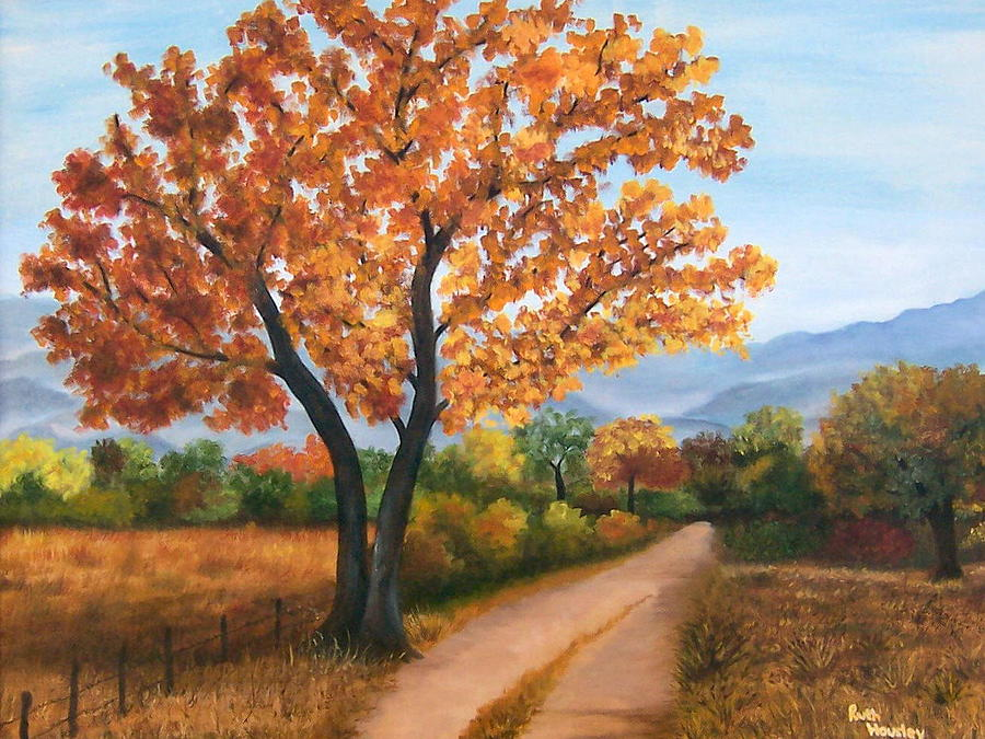 autumn tree country road painting by ruth housley