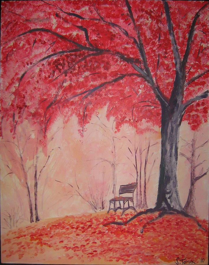 Landscape Painting - Autumn Tree by Snow Tomak