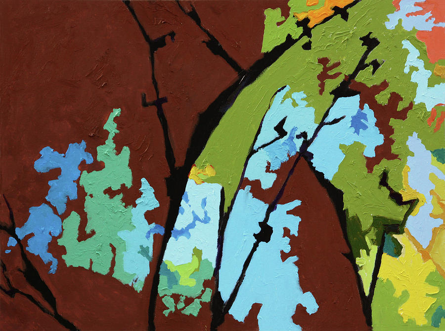 Abstract Painting - Autumn Trees #5 by John Lautermilch