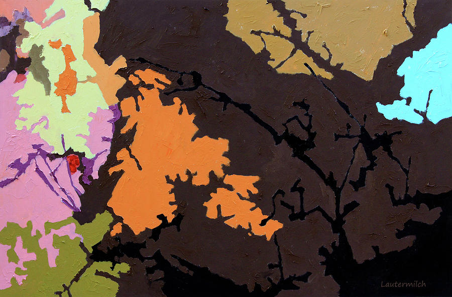 Abstract Painting - Autumn Trees #7 by John Lautermilch