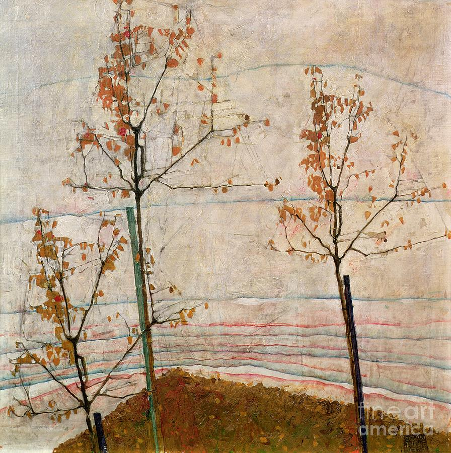 Autumn Trees Painting - Autumn Trees by Egon Schiele