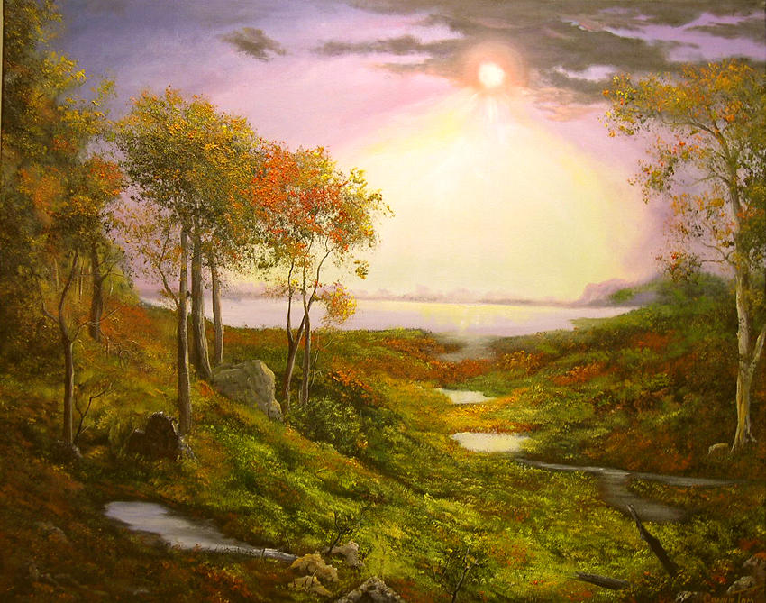 Oil Painting Painting - Autumn Twilight On The Hudson River by Connie Tom