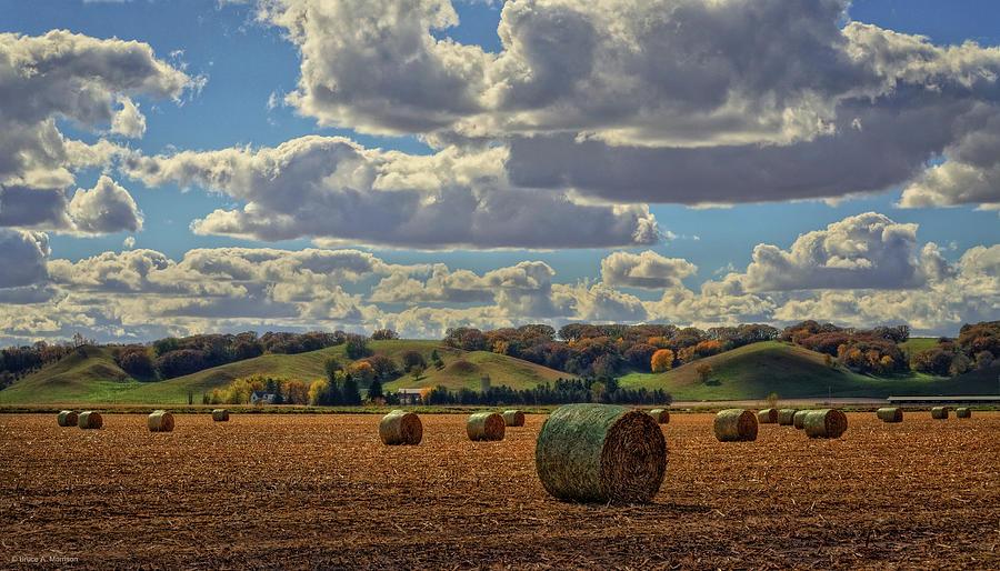 Landscape Photograph - Autumn Valley Bales by Bruce Morrison