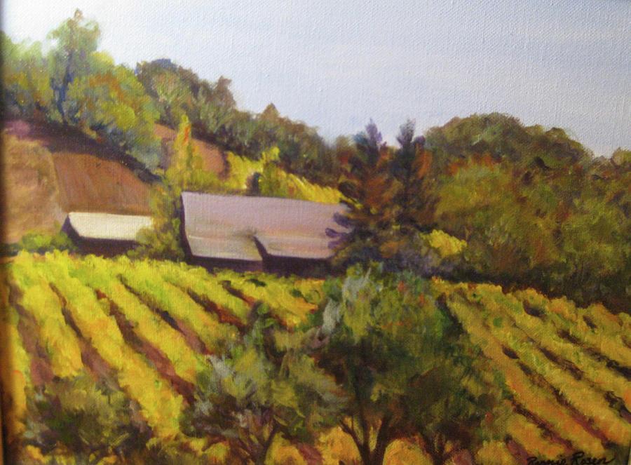 Landscape Painting - Autumn Vineyard by Bonnie Rosen