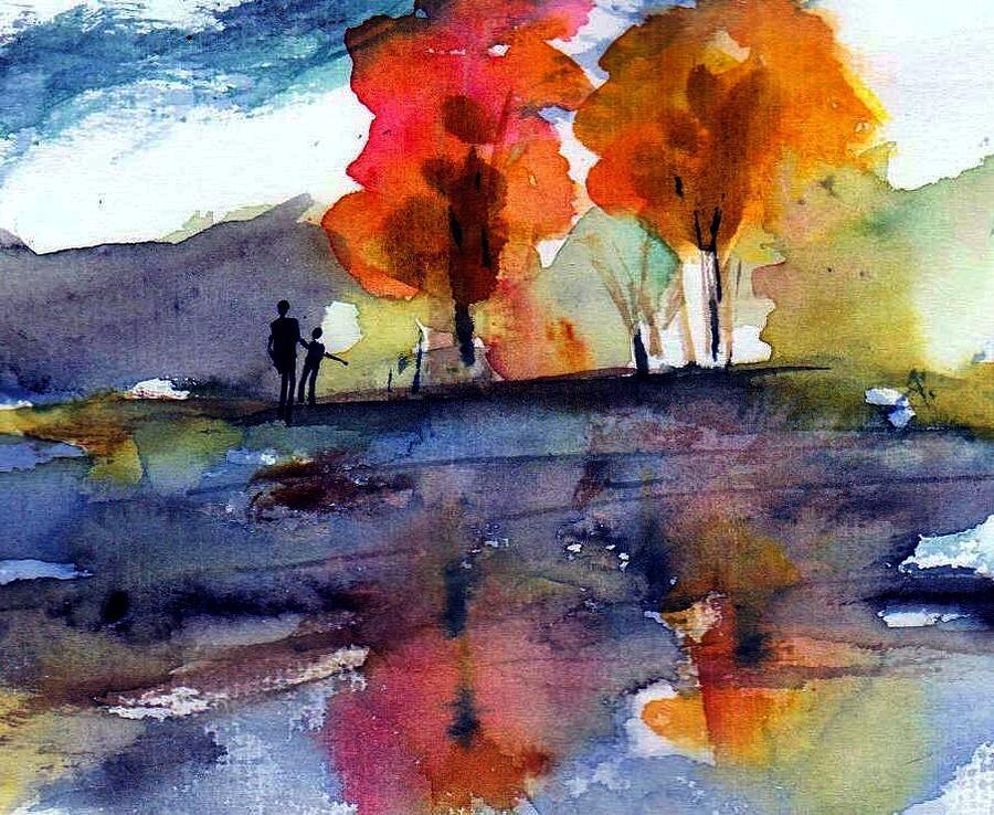 Fall Painting - Autumn Walk by Anne Duke