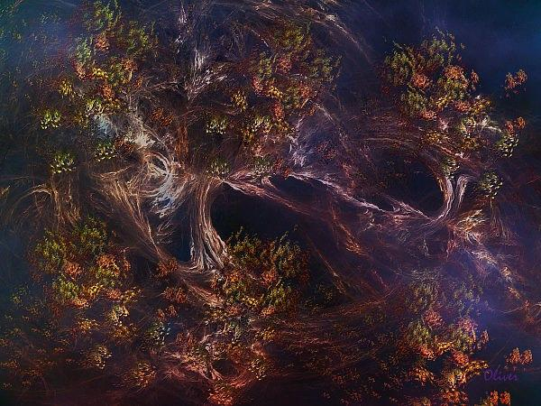 Expressionism Mixed Media - Autumn Whispers by Charles Oliver