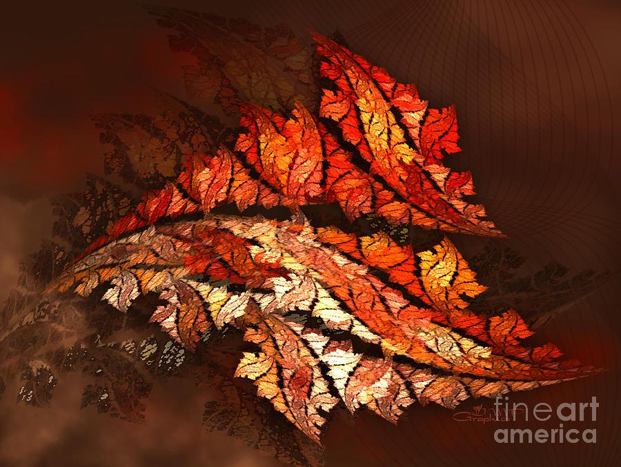 Fractal Digital Art - Autumn Wind by Jutta Maria Pusl