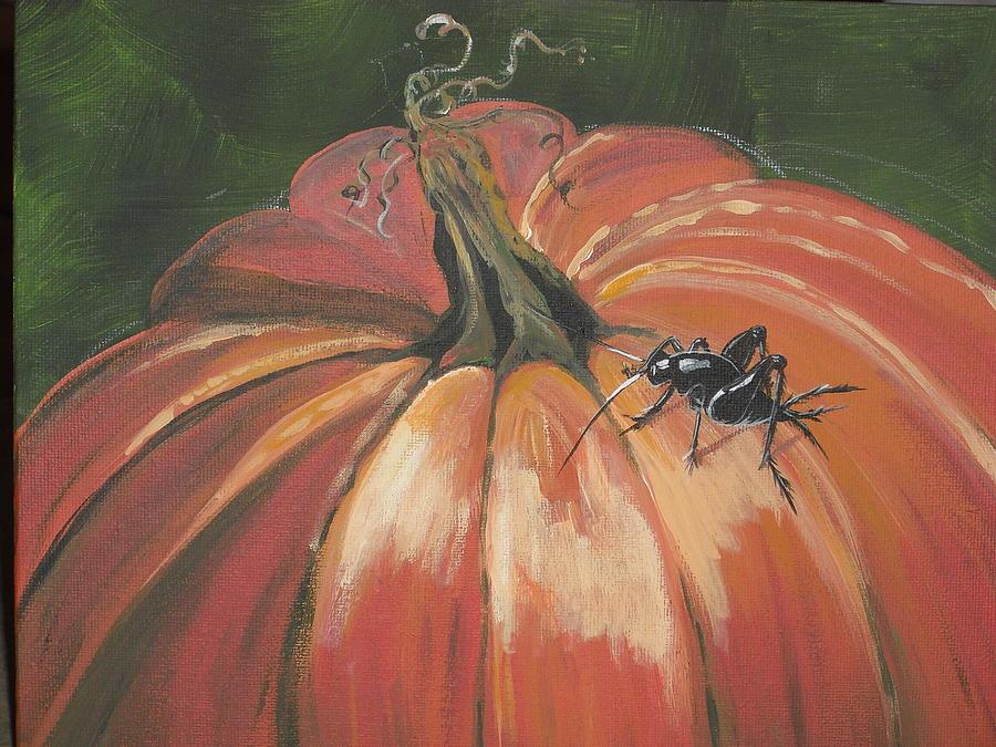 Pumpkin Painting - Autumnal Friend by Jana Caissie