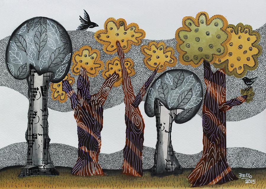 Trees Mixed Media - Autumnal Grove  by Graciela Bello