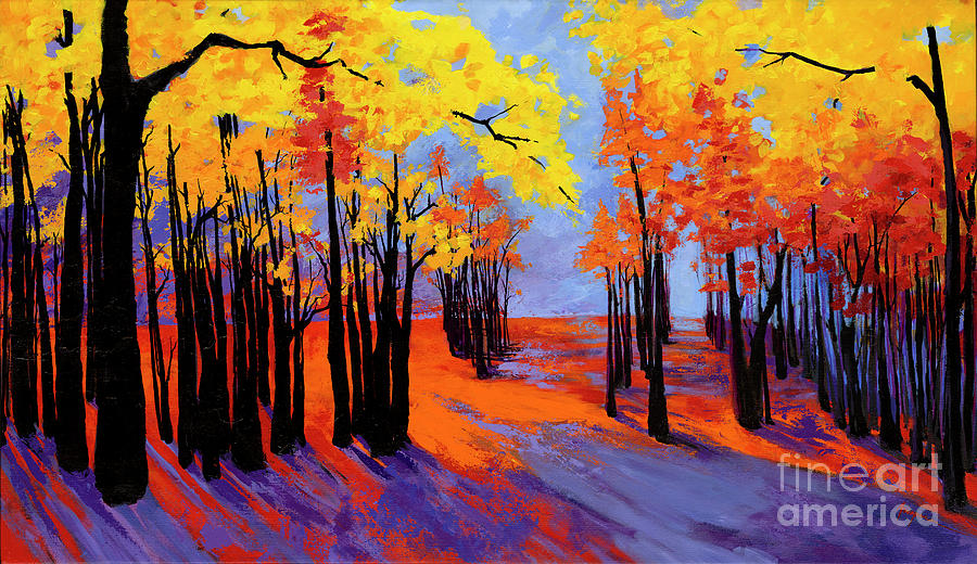 Autumnal Landscape Painting, Forest Trees at Sunset by Patricia Awapara