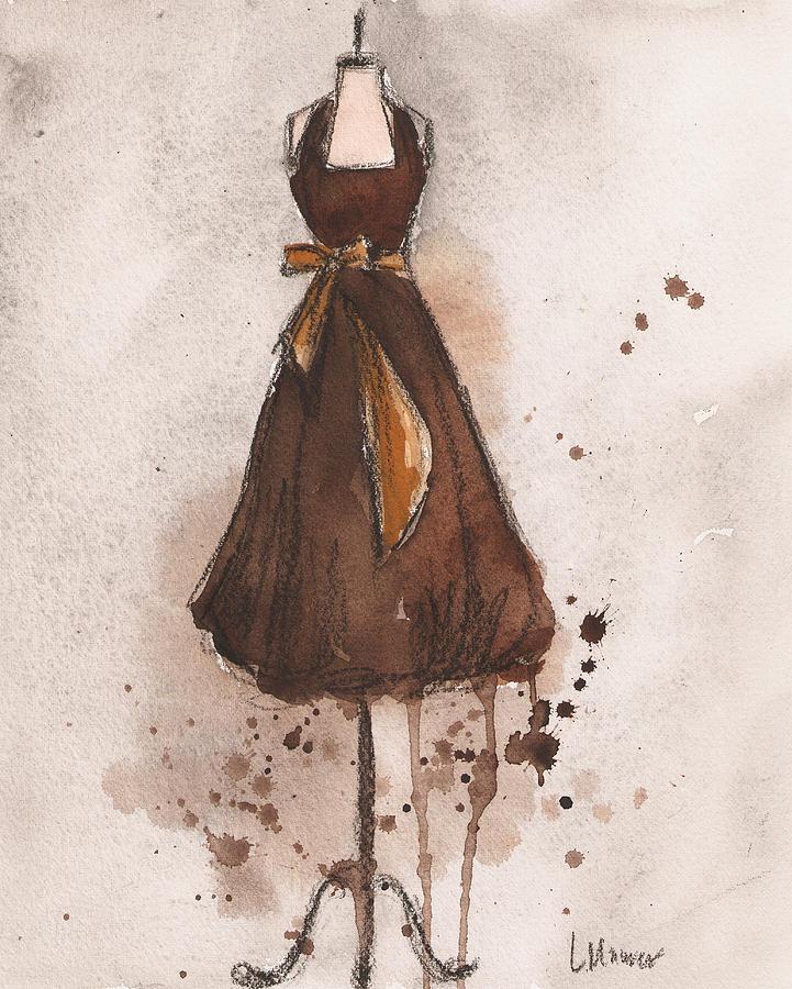 Vintage Dress Painting - Autumns Gold Vintage Dress by Lauren Maurer