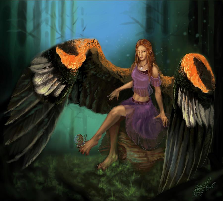 Angel Digital Art - Autumns Wings by Poppy Paizs