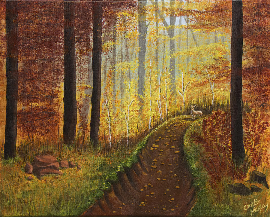 Autumn Painting - Autumns Wooded Riverbed by Christie Nicklay