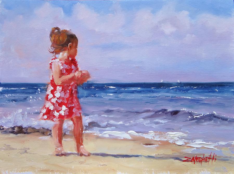 Beach Painting - Ava Rosie by Laura Lee Zanghetti