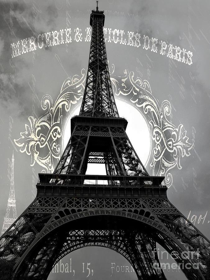 Paris Eiffel Tower Black White Wall Decor Paris Black White Eiffel Tower French Script Photograph By Kathy Fornal