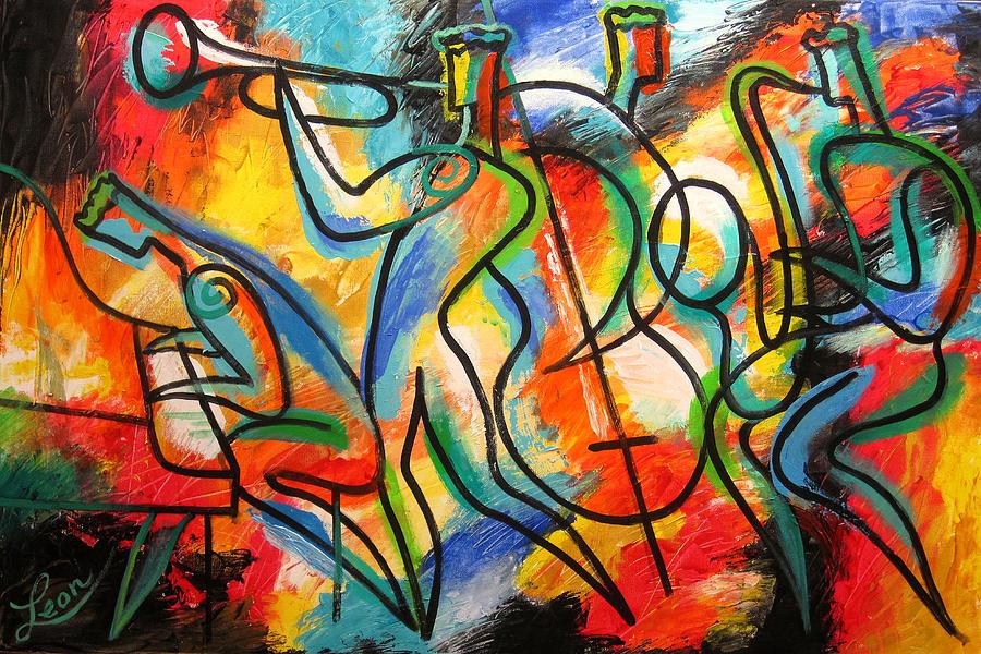 West Coast Jazz Painting - Avant-garde Jazz by Leon Zernitsky