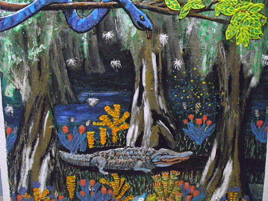 Alligators Painting - Avatatar the alligator by Becky Jenney