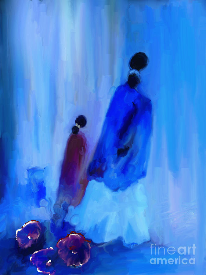 Impressionism Painting - Avec Ma Fille by Aline Halle-Gilbert