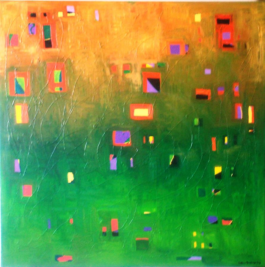 Abstract Painting - Aveiro Town by Delfina Mendonca