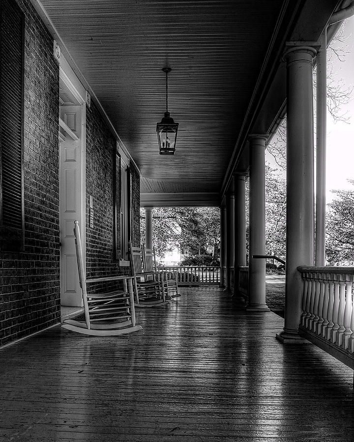 National Register Photograph - Avenel Front Porch - Bw by Steve Hurt
