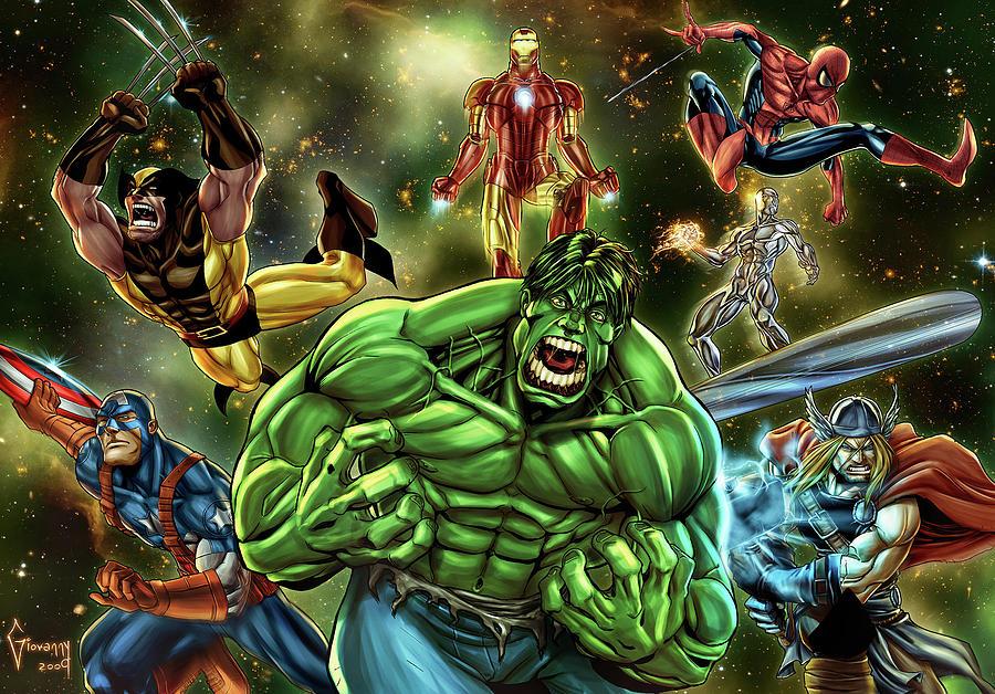 Avengers Digital Art - Avengers by Dorothy Binder